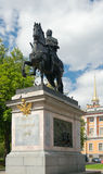 Monument to Peter I (at St. Michael's Castle). Monument to Peter the Great (1716-1800 by Carlo Bartolomeo Rastrelli- commissioned in 1716, approved in 1724 Royalty Free Stock Photos