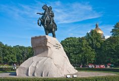 Monument to Peter I in St-Petersburg Stock Photos