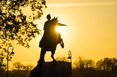 Monument to Peter 1 at sunset St. Petersburg People Evening.  Royalty Free Stock Image