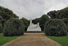 Monument to Petrarca from AREZZO, Italy. Important monument from Arezzo, Italy Stock Photo