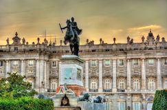 Monument to Philip IV in front of the Royal Palace - Madrid, Spain Royalty Free Stock Photos