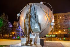 OBNINSK, RUSSIA - OCTOBER 2016: Monument to the Pioneers of Nuclear Energy. Monument to the Pioneers of Nuclear Energy. Obninsk is the birthplace of the world`s royalty free stock photo