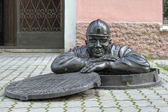 Monument to the Plumber in Yekaterinburg, Russia Royalty Free Stock Images