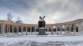 Monument to the poet and writer. Monument dedicated to Abay and Pushkin in the park area Stock Photo