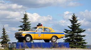 Monument to the police car. Monument patrol car traffic police in Nizhny Novgorod stock images
