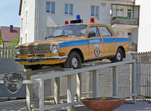 Monument to a police patrol car of GAZ-24 in Kaliningrad Royalty Free Stock Photos
