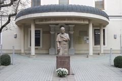 Monument to Pope John Paul II circa 2000 near Cathedral Church royalty free stock photography