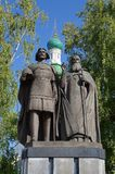 The Monument to Prince Georgy Vsevolodovich and the Holy Hierarch Simon of Suzdal on Nizhny Novgorod Kremlin, Russia stock images