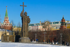 Monument to Prince Vladimir in the Kremlin. In Moscow stock photos