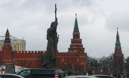 Monument to Prince Vladimir in Moscow Kremlin. In profile stock image