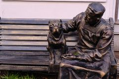 Monument to Professor Preobrazhensky and his dog, Sharik, to the stock photography