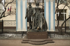 The monument to Pushkin and Goncharova Stock Images