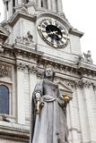 Monument to Queen Anne in front of the St Paul`s Cathedral, London, United Kingdom.          l, Lond. Monument to Queen Anne in front of the St Paul`s Cathedral Royalty Free Stock Photo