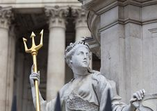 Monument to Queen Anne in front of the St Paul`s Cathedral, sculpture on a pedestal, London, United Kingdom. Monument to Queen Anne in front of the St Paul`s Stock Image