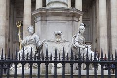 Monument to Queen Anne in front of the St Paul`s Cathedral, sculpture on a pedestal, London, United Kingdom. Monument to Queen Anne in front of the St Paul`s Stock Images