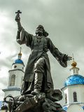 The monument to the regimental priest in the city of Maloyaroslavets of the Kaluga region in Russia. Stock Photo