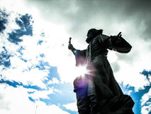 The monument to the regimental priest in the city of Maloyaroslavets of the Kaluga region in Russia. Stock Images