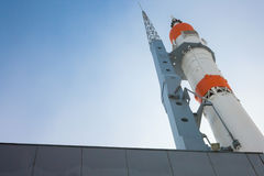Monument to the rocket. Carrier Soyuz museum and exhibition center Samara Space royalty free stock images
