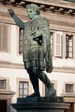 Monument to Roman emperor Constantine I. In Milan, in front of San Lorenzo Maggiore basilica. This bronze statue is a modern copy of a Roman statue in Rome Stock Photos