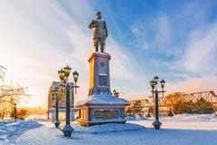 Monument to the Russian Emperor Alexander the Third. Novosibirsk, Russia. Novosibirsk, Western Siberia, Russia-January 2, 2019: monument to Russian Emperor royalty free stock photo