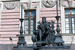 St. Petersburg, Russia, April 2019. Monument to Russian Emperor Paul the First in the courtyard of the Mikhailovsky Castle. Monument to Russian Emperor Paul the royalty free stock image