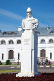 The monument to Russian Prince Alexander Nevsky at the railway station on a sunny June day Stock Photos