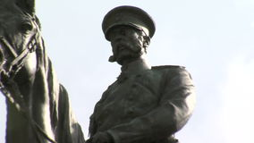 Monument to the Russian tsar in the center of Sofia, Bulgaria stock footage