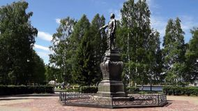 Monument to russian tzar Peter the Great stock video
