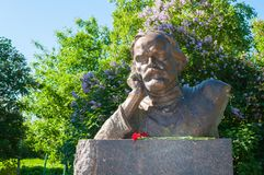 Monument to Russian writer Dmitry Balashov in the park in Veliky Novgorod, Russia -closeup view stock photography