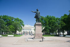 Monument to A.S. Pushkin at Arts Square before the building of the State Russian Museum. St. Petersburg. Stock Photos