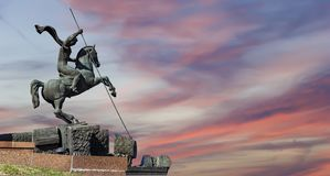 Monument To Saint George Slaying A Dragon On Poklonnaya Hill In Victory Park, Moscow, Russia Stock Image