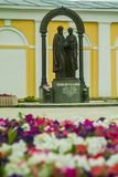The monument to saints Peter and Fevronia of Murom in Kaluga (Russia). Royalty Free Stock Photo