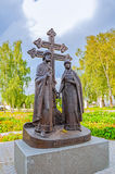 Monument to saints Peter and Fevronia - the patrons of marriage and family, Veliky Novgorod, Russia Stock Images