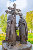 Monument to saints Peter and Fevronia - the patrons of marriage and family, Veliky Novgorod, Russia Stock Photography