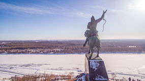 Monument to Salavat Yulaev in Ufa at winter aerial view Royalty Free Stock Image