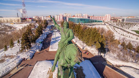 Monument to Salavat Yulaev in Ufa at winter aerial view Royalty Free Stock Images