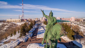 Monument to Salavat Yulaev in Ufa at winter aerial view Stock Photos