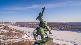 Monument to Salavat Yulaev in Ufa at winter aerial view Royalty Free Stock Photography