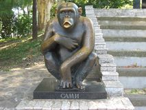 Chimpanzee, Sami, Primate, Zoo, Famous, Monument,. Monument to Sami, the most famous chimpanzee who lived in Beo Zoo in Serbia. Sami runaway from Zoo and walk on royalty free stock photos