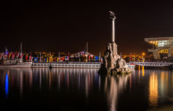 Monument to the Scuttled Ships at night. The Monument to the Scuttled Ships at night, Sevastopol, Crimea, city nightlife, The International Code of Signals Stock Photos