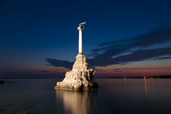 Monument to the scuttled ships at sunset. Sevastopol Stock Photo