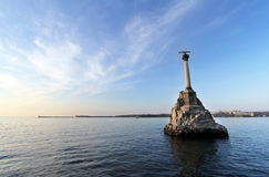 Monument to scuttled ships at sunset. Symbol of Sevastopol Crimea Royalty Free Stock Images