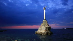 Monument to the Scuttled Warships in Sevastopol stock footage