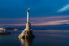 Monument to the Scuttled Warships in Sevastopol at night, Crimea Stock Photos