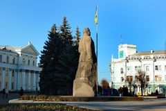 Monument to Sergei Korolev in Zhytomyr, Ukraine. Zhytomyr, Ukraine - December 12, 2011: Monument to Sergei Korolev, lead Soviet rocket engineer and spacecraft Stock Image