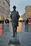 Monument to Sergey Prokofiev in Moscow. MOSCOW - JANUARY 28, 2017: Monument to Sergey Prokofiev in Moscow, on Kamergersky Lane. Famous landmark. Color evening Royalty Free Stock Photography