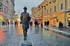 Monument to Sergey Prokofiev in Moscow. MOSCOW - JANUARY 28, 2017: Monument to Sergey Prokofiev in Moscow, on Kamergersky Lane. Famous landmark. Color evening Stock Photo