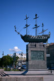 A monument to a ship on a pedestal in St. Petersburg royalty free stock photo