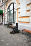 Monument to Shoe cleaner. Monument shining shoes in Nizhny Novgorod in Russia stock photo