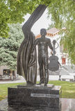 Monument to singer and poet Vladimir Vysotsky. Rostov-on-Don, Russia -August 06,2016: Monument to singer and poet Vladimir Vysotsky on the street Pushkin stock images